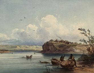 Missouri River - Karl Bodmer, A Mandan Village, c. 1840–1843