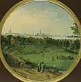 A Summer Landscape with Peasants Harvesting with a View of Antwerp Beyond by Abel Grimmer.jpg