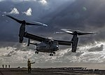 A U.S. Marine Corps MV-22B Osprey takes off from the flight deck of the USS Kearsarge (LHD 3) during flight operations on March 20, 2013 130320-M-SO289-002.jpg