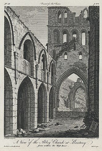 Llanthony Priory - 1780 engraving of Llanthony Abbey, viewed from the West door