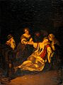 A lady fainting after bloodletting. Oil painting after Eglon Wellcome V0017315.jpg