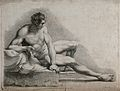 A seated male nude with right leg stretched out. Crayon mann Wellcome V0048999.jpg