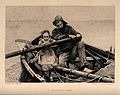A young child helps a fisherman pull on the oar of his boat. Wellcome V0038891.jpg