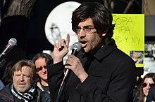 Aaron Swartz durante un discorso contro la SOPA