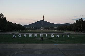 Aboriginal Tent Embassy - Sovereignty sign at the Aboriginal Tent Embassy