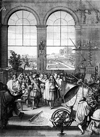 Louis XIV visiting the Académie des sciences in 1671.