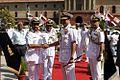 Adm RK Dhowan receiving Rear Admiral Abdullah Bin Khasim Bin Abdullah Al Raisi at South Block, New Delhi.JPG