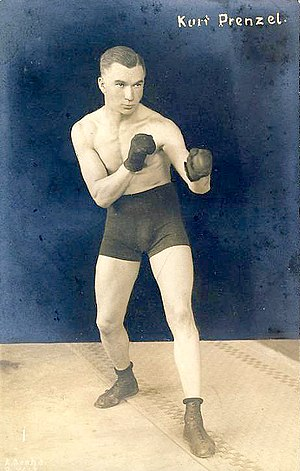 Orthodox stance - Kurt Prenzel, boxer of the 1920s, displaying orthodox stance with left hand and left foot to the fore.