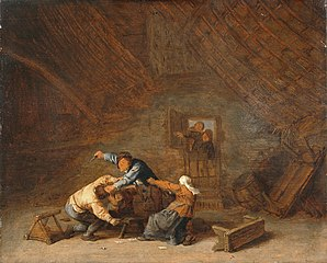 Interior of a Barn with Two Peasants Fighting