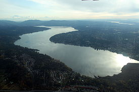 Ariel view of Lake Sammamish with the city of Sammamish on the right