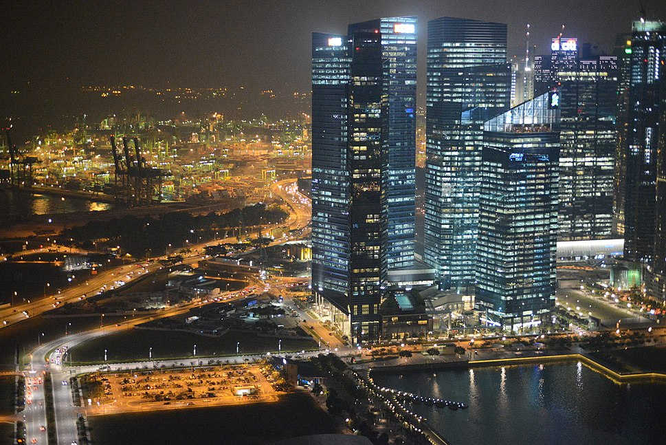 Aerial view of Marina Bay Financial Centre, Singapore, at night - 20121010