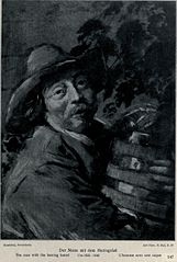 Portrait of a man with a barrel of herring