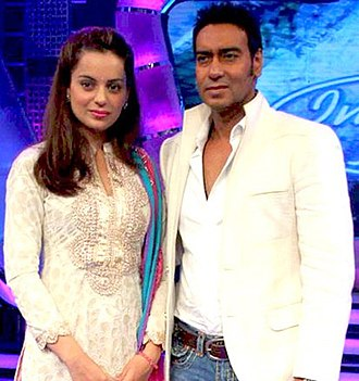 Ajay Devgn - Devgan with Kangana Ranaut at success party of Once Upon A Time In Mumbaai in 2010