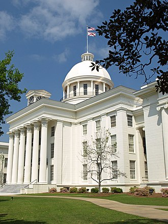 Alabama State Capitol - View of the west (front) portico, dome, and a portion of the south wing.