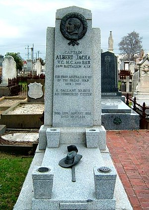 St Kilda Cemetery - The grave of Albert Jacka in St Kilda cemetery.