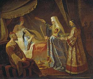 Alexius, Metropolitan of Kiev - Metropolitan Alexis Healing the Tatar Queen Taidula from Blindness, Yakov Kapkov (1816–54).