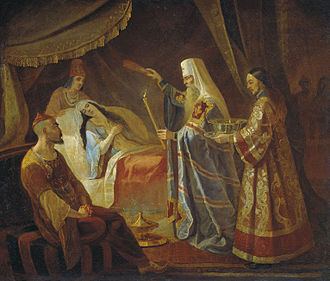 Jani Beg - Metropolitan Alexis Healing the Tatar Queen Taidula from Blindness while Janibeg Looks on, Yakov Kapkov (1816-54).