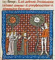 Alexander and followers praying at Trees of Sun and Moon England 1333.jpg