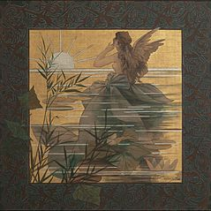 Composition with winged nymph at sunrise