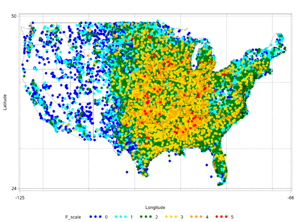 All tornadoes in the Contiguous United States, 1950-2013, plotted by midpoint, highest F-scale on top, Alaska and Hawaii negligible, source NOAA Storm Prediction Center. AllTdots.png