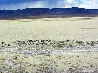 All your base are belong to us - The phrase on U.S. Route 50 in Nevada at 39.3053881,-118.4897546.