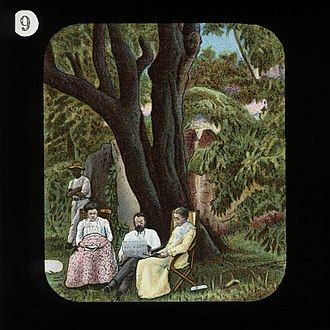 Robert Moffat (missionary) - Robert Moffat sitting under an almond tree at Kuruman with his wife and eldest daughter Mary. (National Portrait Gallery, London)