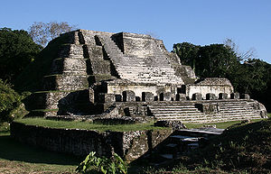 Pre-Columbian Belize - The 'Temple of the Masonry Altars' at Mayan Altun Ha.