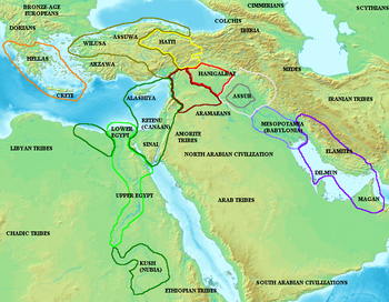 Map of the ancient Near East during the Amarna period, showing the great powers of the period: Egypt (green), Hatti (yellow), the Kassite kingdom of Babylon (purple), Assyria (grey), and Mittani (red). Lighter areas show direct control, darker areas represent spheres of influence. The extent of the Achaean/Mycenaean civilization is shown in orange.