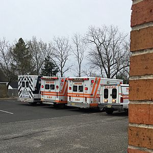 Emergency medical services - Ambulances and a response vehicle (used for special jobs) lined up outside a first aid squad in New Jersey
