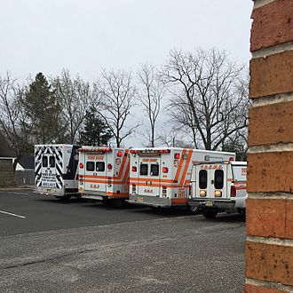 Emergency medical services - Three ambulances and a specialist response vehicle (right) in New Jersey.