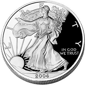 Bullion coin - Obverse of a 2004 American Silver Eagle