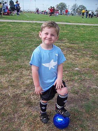 Boy - American Boy Playing Soccer.