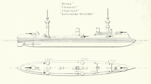 French cruiser Chanzy - Line drawing from Brassey's Naval Annual 1902
