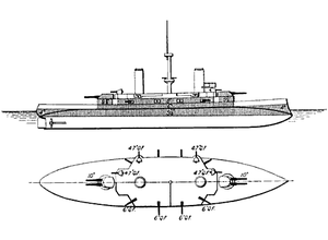 Ammiraglio di Saint Bon-class battleship - Line-drawing of the Ammiraglio di Saint Bon class