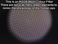 An RGGB Bayer Colour Filter on a 1980's vintage Sony PAL Camcorder CCD.png