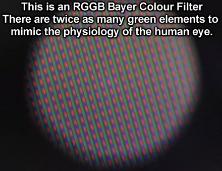 x80 microscope view of an RGGB Bayer filter on a 240 line Sony CCD PAL Camcorder CCD sensor An RGGB Bayer Colour Filter on a 1980's vintage Sony PAL Camcorder CCD.png