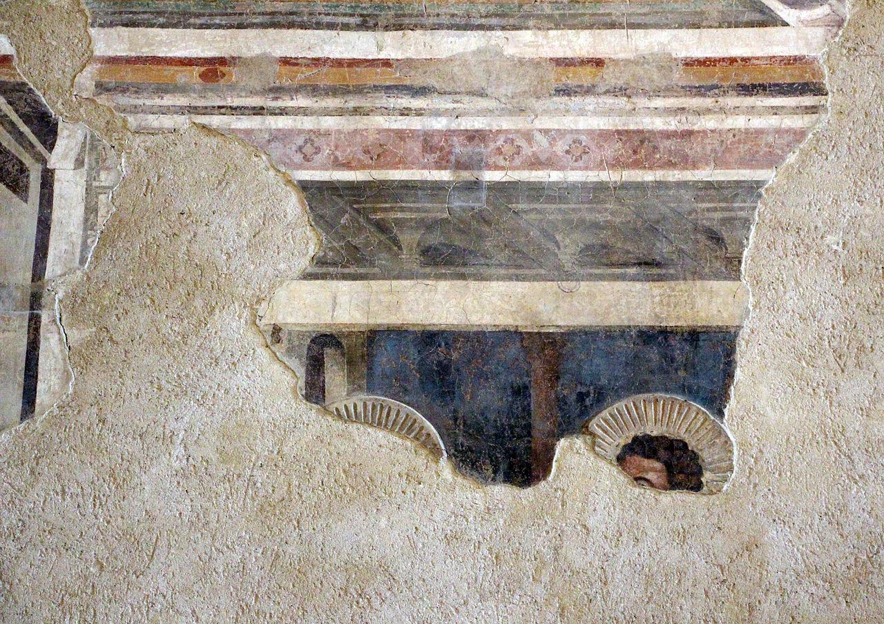 Andrea Orcagna, Cenacolo, particolare, uno scarsamente leggibile a sinistra (vi si vede un vescovo, forse sant'Agostino in una nicchia e una testa d'apostolo), Santo Spirito (Fondazione Salvatore Romano) (1365)