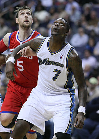 Andrés Nocioni - Andrés Nocioni fighting Andray Blatche for position