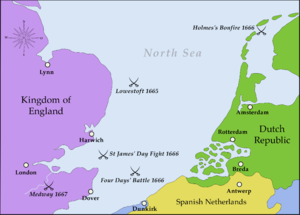 Battle sites of the Second Anglo-Dutch War: apart from Bergen, most fighting took place in the southern North Sea.