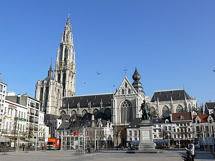 The Onze-Lieve-Vrouwekathedraal (Cathedral of our Lady), here seen from the Groenplaats, is the tallest cathedral in the Low Countries and home to several triptychs by Baroque painter Rubens. It remains the tallest building in the city. Antwerpen kathedraal02.jpg