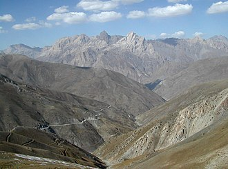 Gissar Range - View of the Anzob Pass across the Hissar Range with the Zarafshan Range in the background