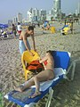 Arab man and Russian woman on a beach in Tel Aviv, Israel - 20080414.jpg