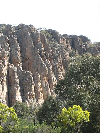 Mount Arapiles - The Organ Pipes, with climbers visible for scale.