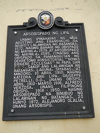 Archdiocese of Lipa - Historical marker installed at the cathedral by the National Historical Commission of the Philippines in 2011 commemorating the diocese.