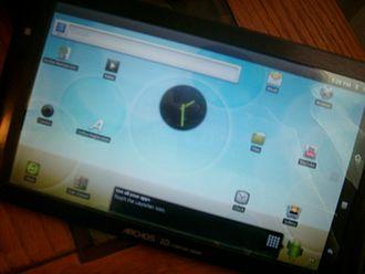 Archos - An Archos 101 Internet Tablet in landscape mode.