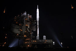 Ares I-X at Launch Pad 39B xenon lights.jpg