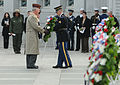 Army Sgt. Zachariah Faulkner (right), infantryman, Honor Guard Company, 3rd U.S. Infantry Regiment (The Old Guard), Navy Capt. Russel Vowinkel, retired (left) and Lt. Col. Gary Engen, retired (far left), place 121207-A-KF670-875.jpg