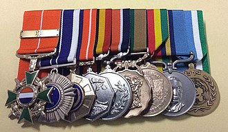 Arthur W. Walker - Honoris Crux Gold and Bar, Southern Cross Medal, Pro Patria Medal, Southern Africa Medal, General Service Medal (South Africa), Good Service Medal, Bronze, Zimbabwean Independence Medal, General Service Medal (Rhodesia), ONUMOZ medal