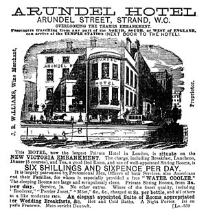 Arundel Street - Arundel Hotel advertising, c. late 1800s.