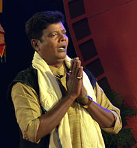 Ashrumochan Mohanty acting in a play during 2nd Odisha State Film Awards, 2014.JPG